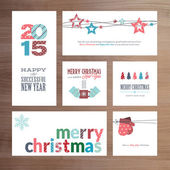 Flat design Christmas and New Year greeting card templates — Vector de stock