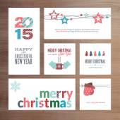 Flat design Christmas and New Year greeting card templates — Stockvektor