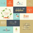 Set of flat design elements for Christmas and New Year greeting cards and labels, web badges and banners, and printed materials — Stock Vector #57296823