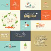 Set of flat design elements for Christmas and New Year greeting cards and labels, web badges and banners, and printed materials — Stockvektor