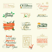 Set of elements for Christmas and New Year greeting cards, badges and stickers — Stock Vector