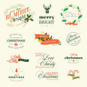 Set of vintage elements for Christmas and New Year greeting cards — Stock Vector