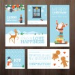 Set of flat design Christmas and New Year greeting cards and banners — Stock Vector #57684191