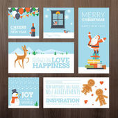 Set of flat design Christmas and New Year greeting cards and banners — Stock Vector