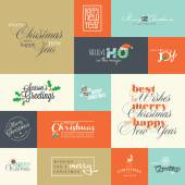 Set of flat design elements for Christmas and New Year greeting cards — Stock Vector