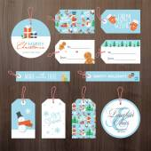 Set of flat design Christmas and New Year tags — Vetorial Stock