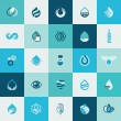Set of flat design icons for water and nature — Stock Vector #59462429