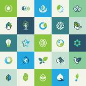 Set of flat design nature icons — Stock Vector