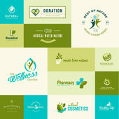 Set of modern flat design nature and healthcare icons — Stock Vector