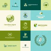 Set of modern flat design nature and technology icons — Stock Vector