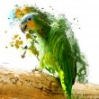 Green parrot on the branch, abstract animal concept — Stock Photo #61500161