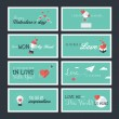 Set of modern flat design Valentines day greeting cards and banners — Wektor stockowy  #62062623
