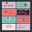 Set of flat design Valentines day greeting cards and banners — Vetor de Stock  #62062631