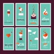 Set of modern flat design Valentines day greeting cards — Vector de stock  #62063385