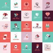 Set of flat design icons for Valentine day — Vecteur