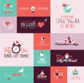 Set of flat design Valentines day signs for greeting card, web banner, badge, ad and printed materials — Stock Vector