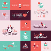 Set of flat design Valentines day signs for greeting card, web banner, badge, ad and printed materials — Stockvector