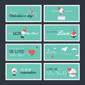 Set of modern flat design Valentines day greeting cards and banners — Stock Vector