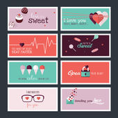 Set of flat design Valentines day greeting cards and banners — Stock Vector