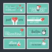Modern flat design Valentines day greeting cards and banners — Stock Vector