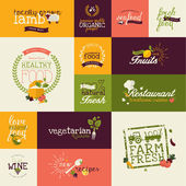 Set of flat design icons for natural organic food and drink — Cтоковый вектор