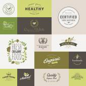 Set of flat design icons for organic food and drink — Stok Vektör