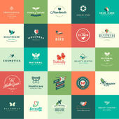 Set of flat design animals and nature icons — Stock vektor
