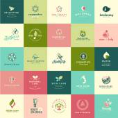 Set of flat design beauty and nature icons — Stock Vector