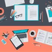 Set of flat design illustration concepts for creative project, graphic design development, business, finance, e-commerce — Stockvector