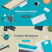 Set of flat design illustration concepts for business and creative workspace — Stock Vector