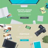 Insieme di concetti illustrazione design piatto per lo sviluppo di grafica e portfolio — Vettoriale Stock