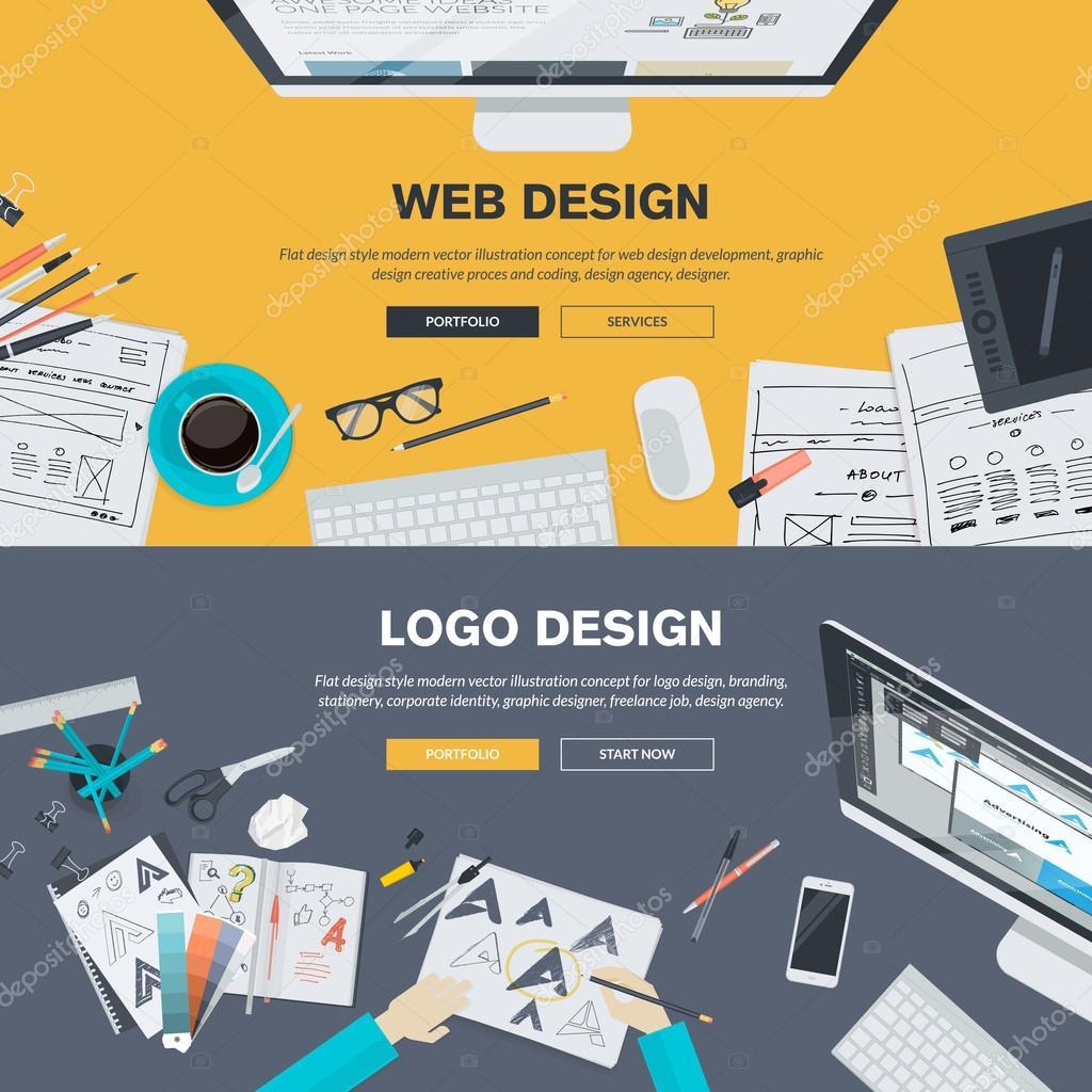 Flat design illustration concepts for web design for Graphic design agency