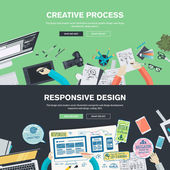 Flat design illustration concepts for creative process, graphic design, web design development, responsive web design, coding, SEO, design agency — Vecteur