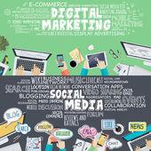 Set of flat design illustration concepts for digital marketing and social media — Stock Vector