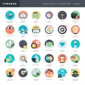 Set of flat design icons for business and banking — Vector de stock