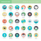 Satz von flachen design-ikonen für bildung — Stockvektor