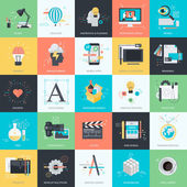 Set of flat design style concept icons for graphic and web design. Icons for web design and development, graphic design, mobile apps development, packaging design, logo design. — Vettoriale Stock