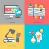 Set of color line icons on the theme of graphic and web design — Stock Vector