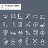 İş ve Finans için ince çizgiler web simgeler kümesi — Stok Vektör