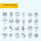 Tenká linie ikony nastavit. Ikony pro podnikání, bankovnictví, e bankovnictví. — Stock vektor