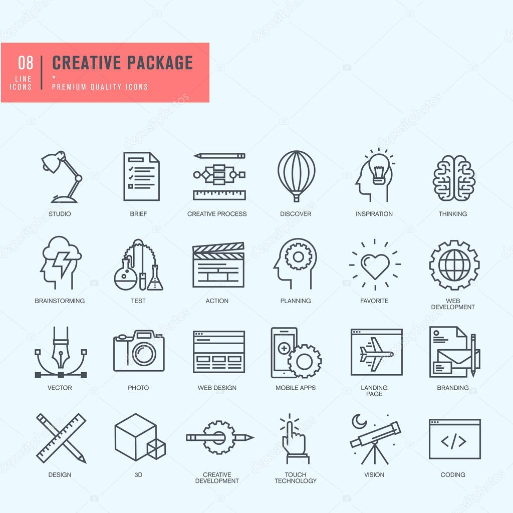 Thin line icons set. Icons for graphic and web design.