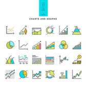 Set of line modern color icons of charts and graphs — Stock Vector