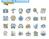 Flat line icons set of travel and tourism sign and object, holiday trip planning, online travel services, tour organization, air travel to cruise, summer and winter vacation, city break. — Stock Vector