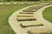 Stone walk paths in the park with green grass  — Stockfoto
