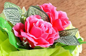 Artificial rose flowers bouquet — Stock Photo