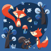 Foxes, squirrels, trees, acorns and leafs — Stock Vector
