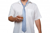 Man with alcohol in hand — Stock Photo