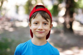 Little boy in cap outdoor — Stock Photo