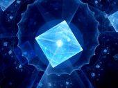 Glowing blue square shape virus — Stock Photo