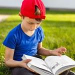 Little schoolboy read book in park — Stock Photo #55681583
